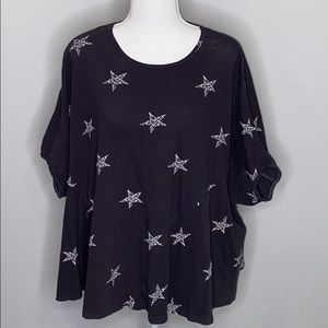 Easel Oversized Star Print T Shirt - Size M